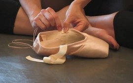 How do I sew the ribbons on pointe shoes?