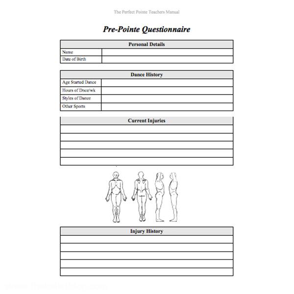 The Pre-Pointe Questionnaire